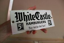 WHITE CASTLE HAMBURGERS 5 CENT DRIVE IN DINER PORCELAIN METAL SIGN GAS OIL FRIES