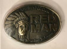 RED MAN INDIAN CHIEF CHEWING TOBACCO BRASS BELT BUCKLE new in package