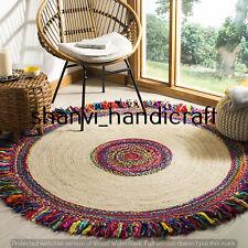 Braided Rag Rugs Bohemian Natural Round Jute & Cotton Area Rug 6 Feet Mat Carpet