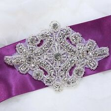 Vintage Motif Style Star Rhinestone Beads Wedding Bridal Dress Sew on Applique