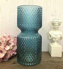 Vintage Embossed Diamond Style Blue Glass Bud Vase Christmas Table Centrepiece