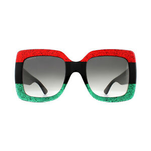 Gucci Sunglasses GG0083S 001 Red and Green Glitter with Black Grey Gradient