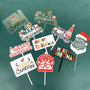 Merry Christmas Acrylic Cake Topper Cupcake Topper For Xmas Party ChristmasY^SL