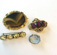 lot 4x Victorian brooches Agate Paste Crystal small collection