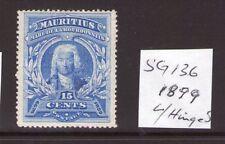 Mauritius  Victoria 15cts 1899 SG136, single, ultramarine lightly hinged.