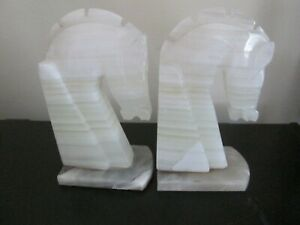 A Pair Vintage Trojan Horse Head Bookends Carved Onyx Marble Stone Book Ends