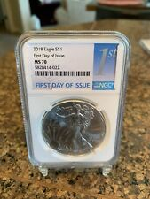 2018 silver eagle MS70 NGC First Day Of Issue
