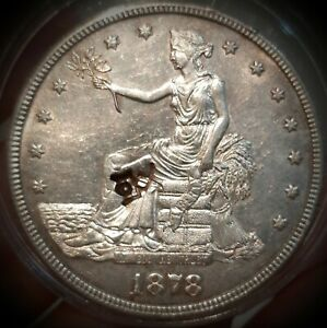 1878-S Trade Dollar- Almost uncirculated with CHINESE COUNTERMARK .LOT OF LUSTER