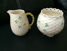Vintage Lot of 2 Belleek Shamrock Basketweave Vase Creamer Irish 3rd Green Mark