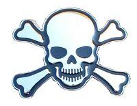 Sticker autocollant 3D skull tête de mort adhésif chrome badge auto moto decal