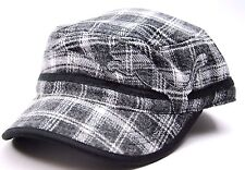 Puma Plaid Military Cadet Style Cap Hat Gray/Black/White OSFM