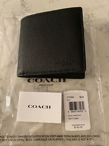 Coach Men's Wallet F75084 Double Billfold Wallet. New With Tags