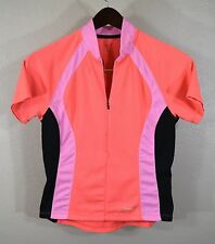 Terry 1/2 Zip Cycling Jersey WOMENS SMALL Peach Pink Bike Ladies Pockets