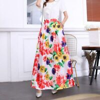 Women new high waist vintage Pleated long skirt flared maxi floral dress skater