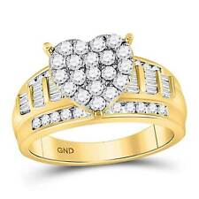 10kt Yellow Gold Round Diamond Heart Cluster Bridal Wedding Engagement Ring