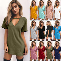 Womens Summer Deep V Neck Boho T Shirt Dress Evening Party Shirt Beach Sundress