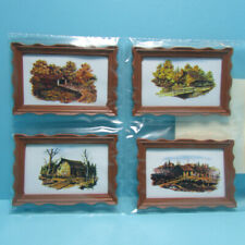 Dollhouse Miniature Country Covered Bridges and Farms Picture set of 4 MUL5369
