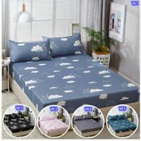 Floral Strawberry Fitted Sheet Mattress Protector Queen/King Size Bed Pillowcase