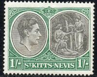 1950 St Kitts-Nevis Sg 75c 1s black and green Chalk Surfaced Paper Mounted Mint