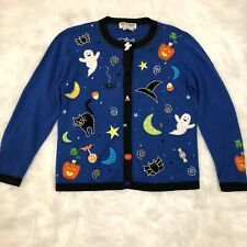 Jack B Quick Halloween Cardigan Sweater Size S Blue