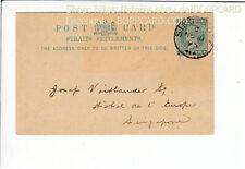 SINGAPORE , POSTAL STATIONARY 1 CENT , 1895 / Q