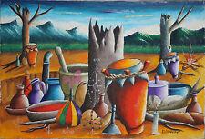 DECOURCELLE GOURGUE-Haitin Modernist-Original Signed Acrylic-Haitian Voudo