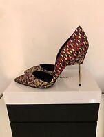 Kurt Geiger London Bond High Heel Court Shoes Size 4 EU 37 Red Jacquard NEW