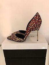 Kurt Geiger London Bond Shoes Size 4 EU 37 Red Jacquard High Heel Court RRP £230