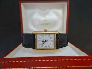 CARTIER MUST TANK 2413 DATE QUARTZ 25mm BOX EXCELLENT