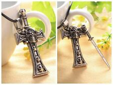 Men Unisex Punk Metal Bronze Skeleton Cross Sword Skull Head Pendant Necklace