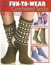 Fun-To-Wear Crocheted Socks Crochet Adults Kids Patterns Annie's Attic NEW