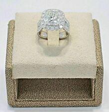 3.95Ct Cushion-Cut Diamond Halo Bridal Set Engagement Ring Solid 14K White Gold