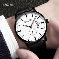BELUSHI Men Sport Stopwatch Leather Band Quartz Waterproof Calendar Wrist Watch