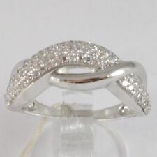 WHITE GOLD RING 750 18K, VERETTA WITH ZIRCON CUBIC, BRAIDED, UNDULATED