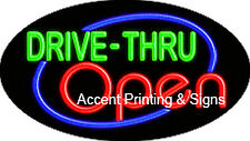 Drive-Thru Open Handcrafted Real Glasstube Flashing Neon Sign