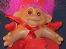 "5"" 1986 DAM TROLL W/MAGENTA HAIRED ""L'IL DEVIL"" RED SHORTS,CAPE & HORNS! V617"