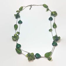 Silver Tone Green Glass Bead Double Strand Necklace