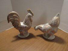 Royal Haeger  Pottery Vintage  Gold Tweed Glaze  22 K Gold Rooster & Hen 1950's