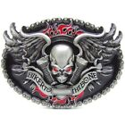 Biker To The Bone Skull Wings Flame Chain Silver Belt Buckle Mens Motorcycle