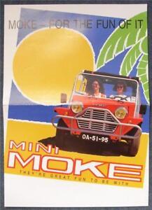 "MINI MOKE Car Beach Buggy Colour Poster 1995 16 ½""x 11 ¾"""