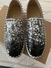 Christian Louboutin Pik Boat Degraloubi White Black Patent Spike Sneaker 37