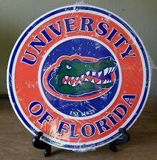 "12""  University of Florida Gators Weathered/Vintage Design Round Metal Sign"