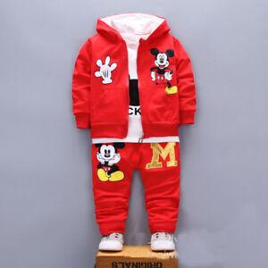 3pcs Baby toddler clothes boys coat+T shirt +pants tracksuit outfits set cartoon