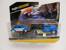MAISTO Elite Transport - Blue Wrecker w/ Chopped  Volkswagen Beetle