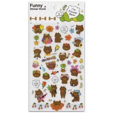 ✰ CUTE FLOWER BEAR STICKERS Two Sticker Sheets Kids Craft Scrapbook Brown Teddy