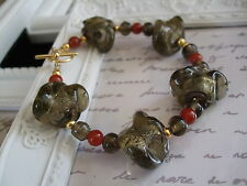 Chunky Brown Twisted Foil Glass and Red Agate Beaded Bracelet
