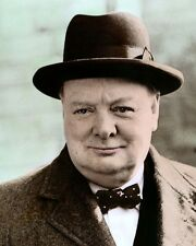 "WINSTON CHURCHILL PRIME MINISTER UNITED KINGDOM 8x10"" HAND COLOR TINTED PHOTO"