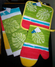 WATER COLOR FERN LEAVES CHOOSE KITCHEN DISH TOWEL QUILTED POTHOLDERS / OVEN MITT