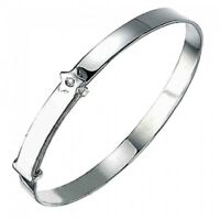Silver Adjustable D For Diamond Star Baby Girls Bangle - Gift Boxed