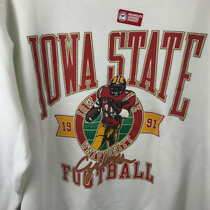 Vtg 1991 Iowa State Cyclones ISU Football Sweatshirt NEW ~ Adult L Galt Sand USA